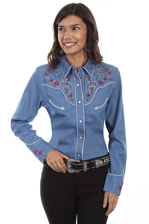 Floral & Longhorn embroidered shirt