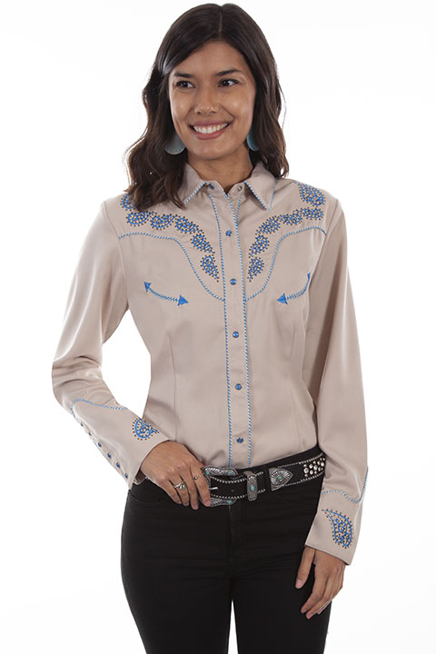 Paisley embroidered western shirt