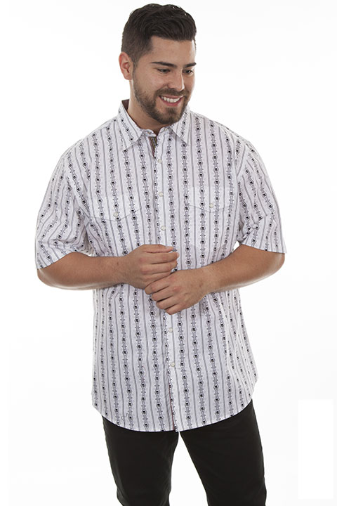 100% cotton snap front short sleeve shirt