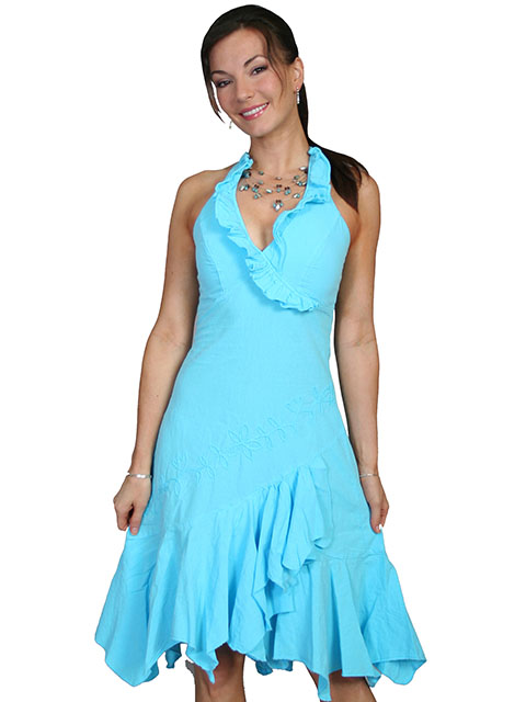 100% peruvian cotton ruffled halter dress