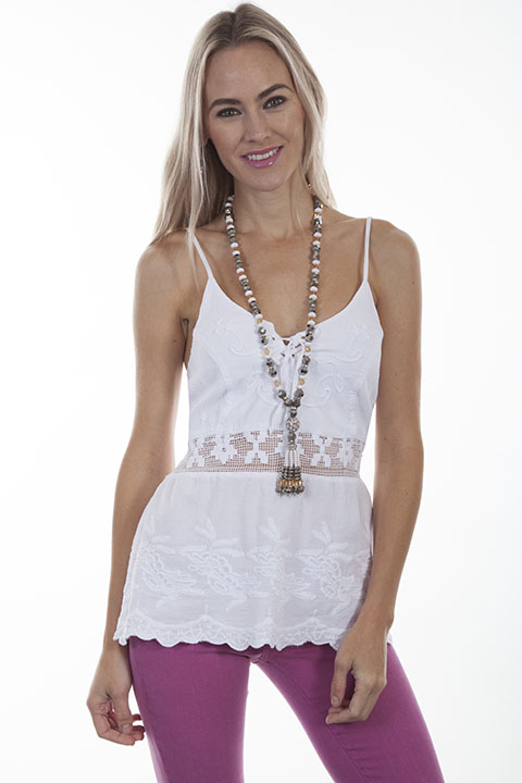 Cotton halter top with front lace up tie