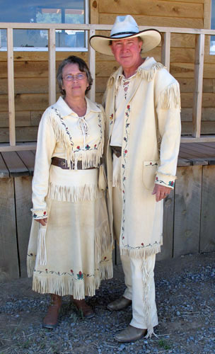 Handmade Painted Metis Design Long Coat and Pants Ensemble