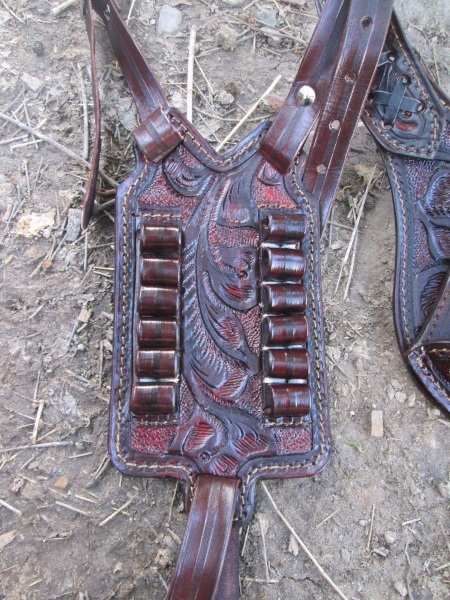 Western Floral Stamped Shoulder Holster