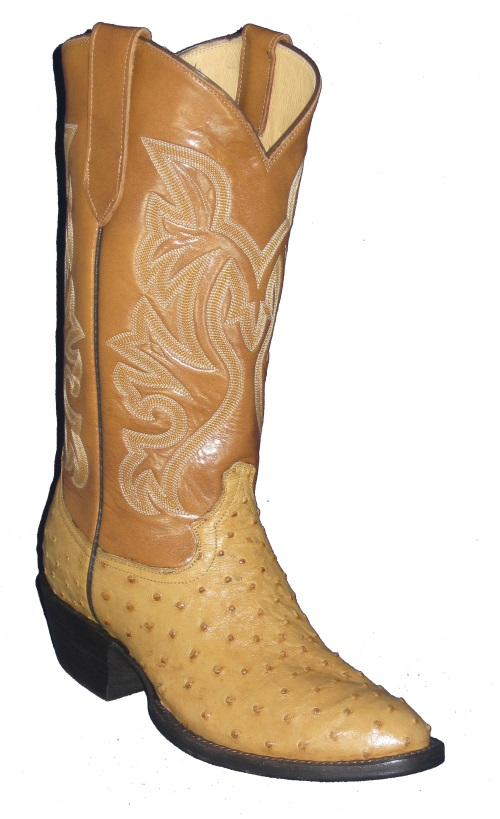 Saddle Tan Full Quill Ostrich Western Fancy Stitch Cowboy Boots