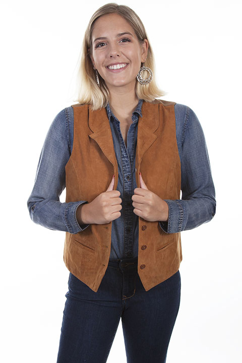 Ladies lamb suede vest with lapels