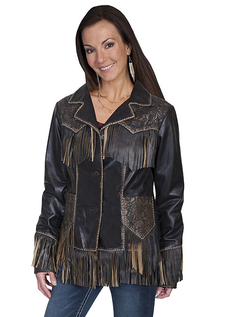 Tooled leather fringe western jacket