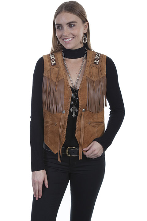 Hand laced and bead trim vest