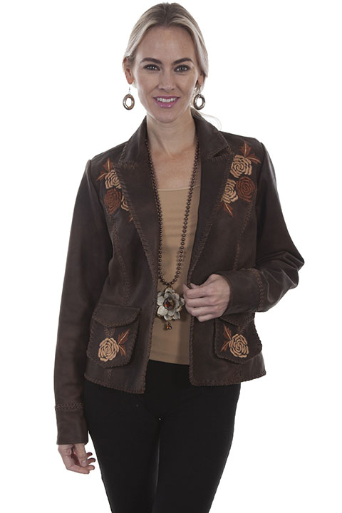 Classic leather blazer with floral embroidery