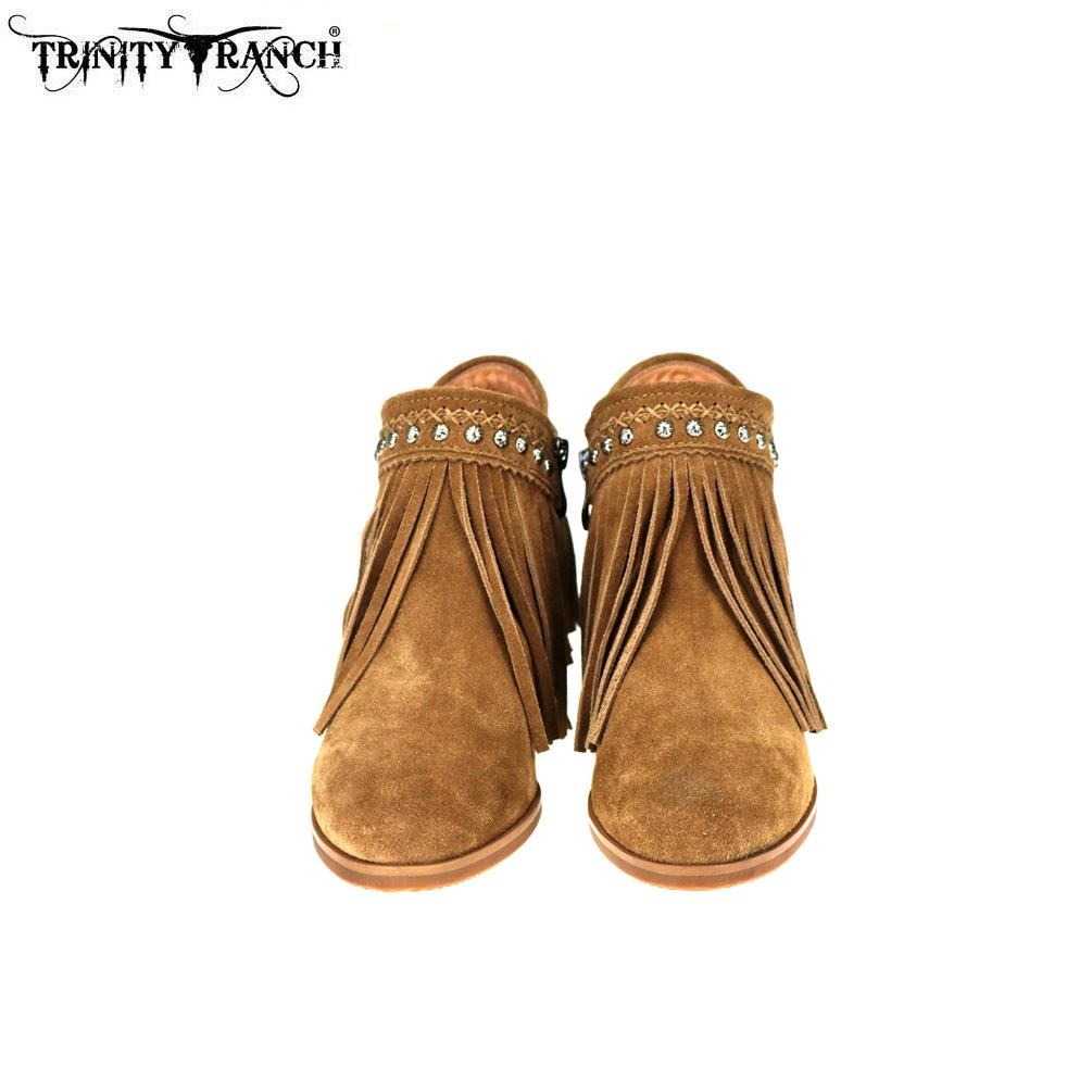 Trinity Ranch Western Leather Suede Booties with Fringe