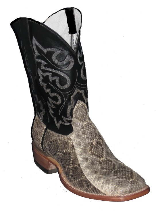 Western Diamondback Rattlesnake Cowboy Boots with Square Toe