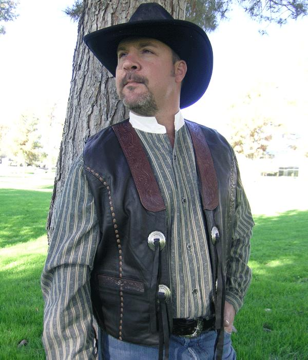 Western Tooled Leather Vest