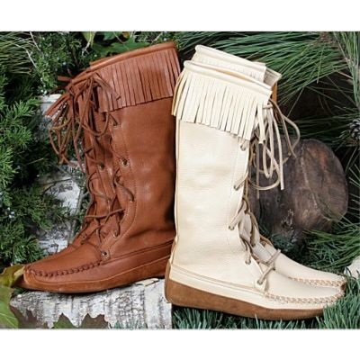 Women's Knee High Moccasin Boots with Fringe
