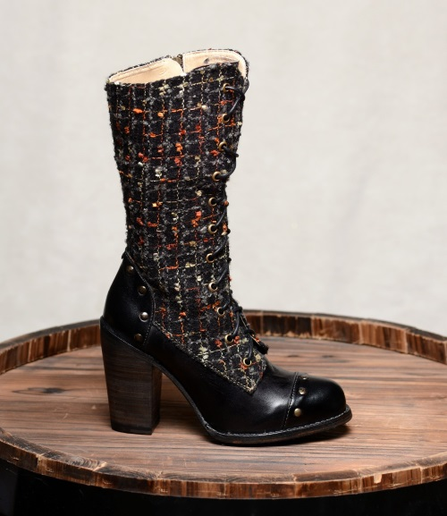 Alice Black Lace Up Western Boots