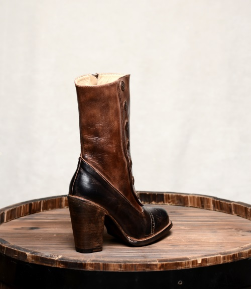 Amelia Fashion Boots Side Zipper Black & Teak Leather