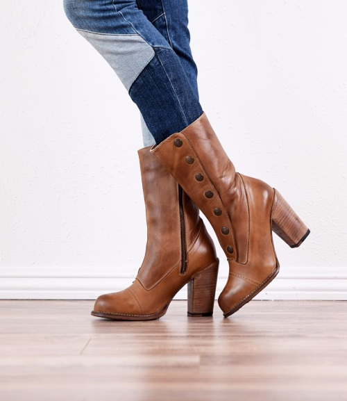 Amelia Rustic Tan Fashion Snap Side Western Boots
