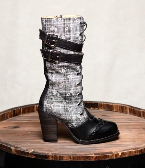 Arabella Black Fashion Fabric And Leather Boots F519601