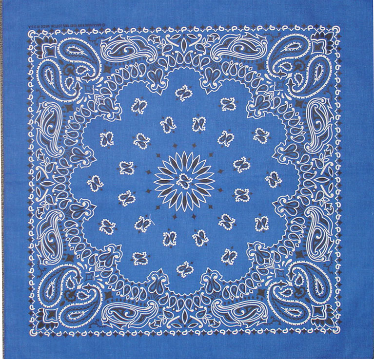 "Bandanna Royal Blue Paisley 22"" x 22"""