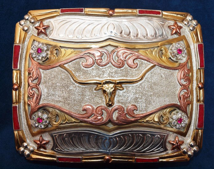 German Silver & Plated Gold Belt Buckles
