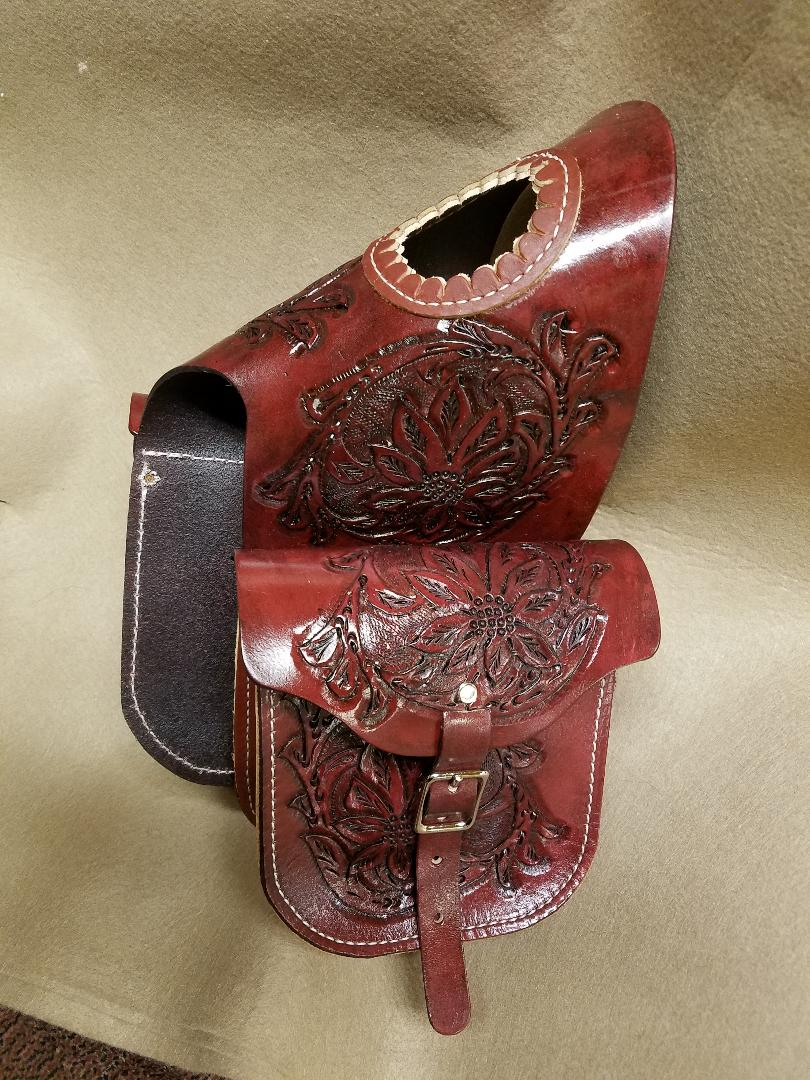 Western Leather Floral Hand Tooled Double Horn Bags