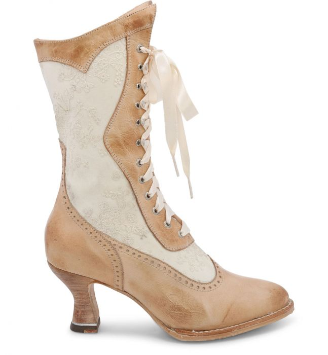 Abigale Tall Boots Bone Leather with Ivory Embroidery