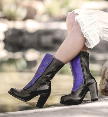 Amelia Leather Tall Boots Black & Purple Poison Rustic