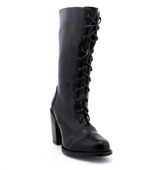Ariana Black Leather Lace Up Fashion Western Boot