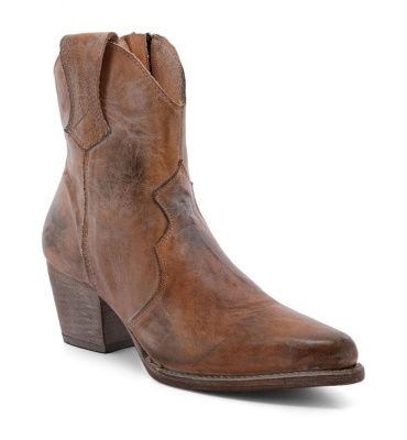 Baila Short Boots Tan Rustic with Side Zipper