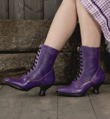 Eleanor Purple Poison Ankle Boots Old West Style