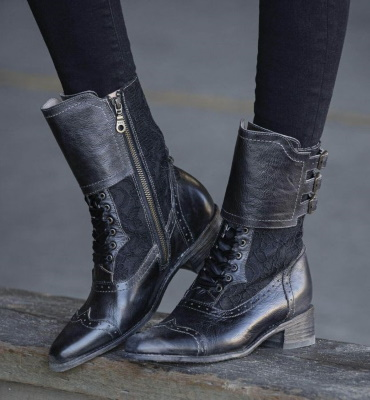 Faye Riding Boots Black Rustic with Lace