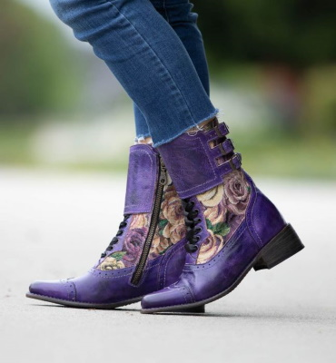 Faye Riding Boots Purple Poison with Lilac Tapestry