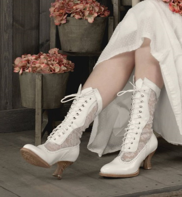 Jennie Victorian Wedding Boots White Kidskin with Lace