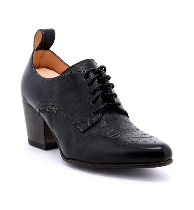 Braunstone Black Leather Lace Up Shoes Western Inspired