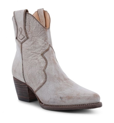 Baila Ankle Boots White Distressed Iridescent