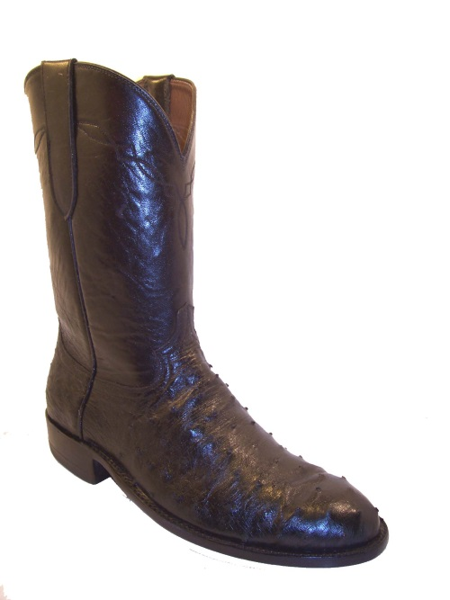 Black Full Quill Ostrich Cowboy Boots Western Round Toe Ropers