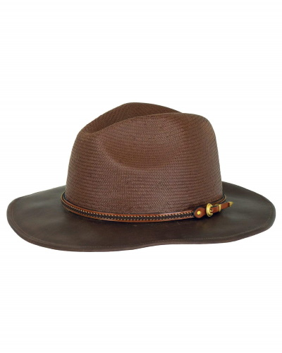 Perth Leather and Straw Hat