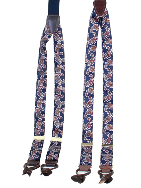 1822 Albert Thurston Design Suspenders /Braces Navy Silk Paisley
