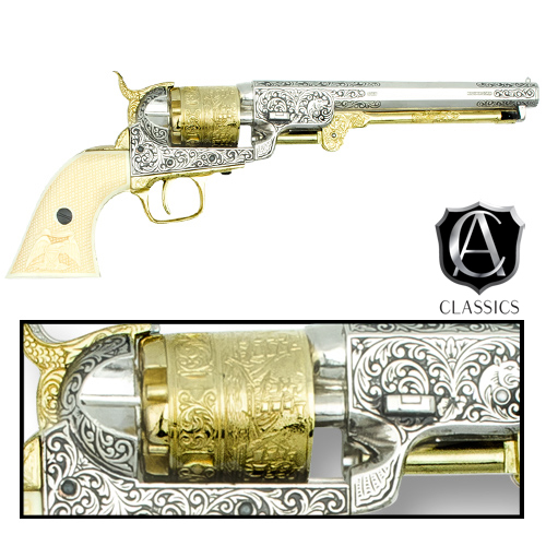 1851 Navy Cap And Ball Gold & Nickel Scrolled Revolver