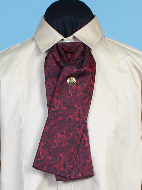 1854 Design Red Dragon Print Fabric Victorian Puff Neck Tie