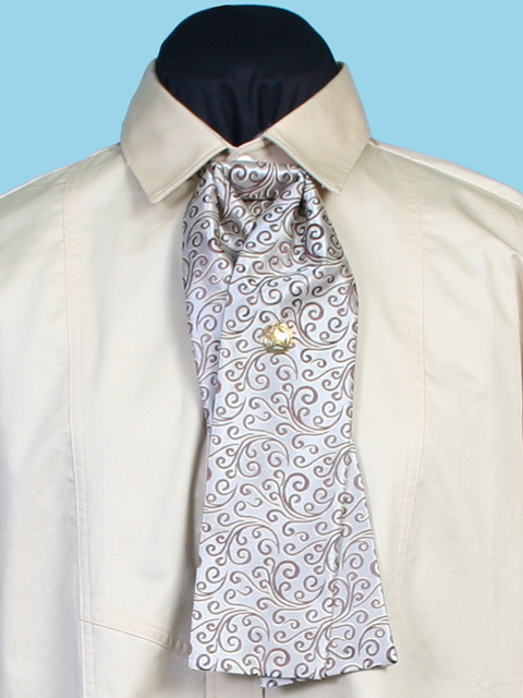1854 Design Scrollwork Print Fabric Puff Neck Tie Brown or Cream