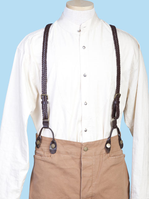 1890 Design Braided Leather Britches Suspenders Trouser Braces