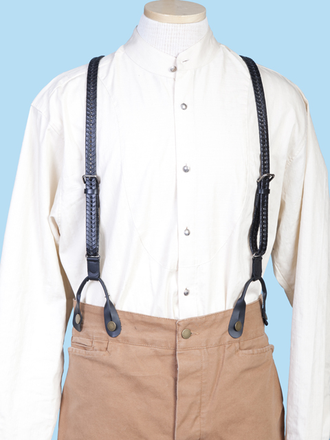 1890 Design Flat Braided Leather Trouser Suspenders Braces