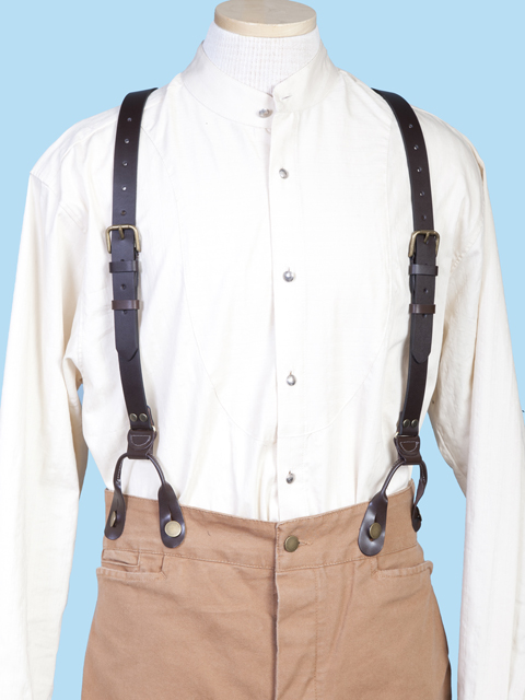 1890 Design Plain Leather Trouser Suspenders Britches Braces