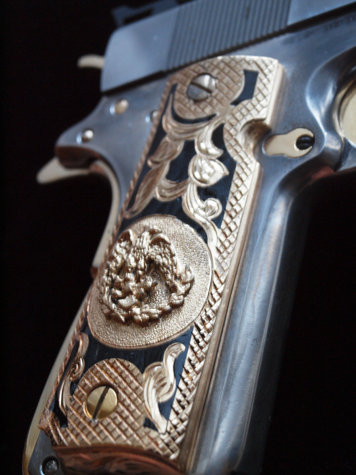 1911 Colt Mexican Eagle Black Inlay 24k Gold Plated Pistol