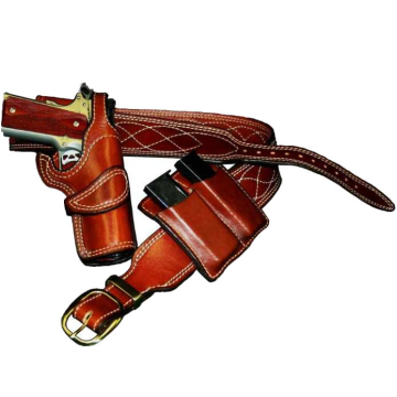Wolf Catcher Gun Belt with Holster and Double Clip Pouch