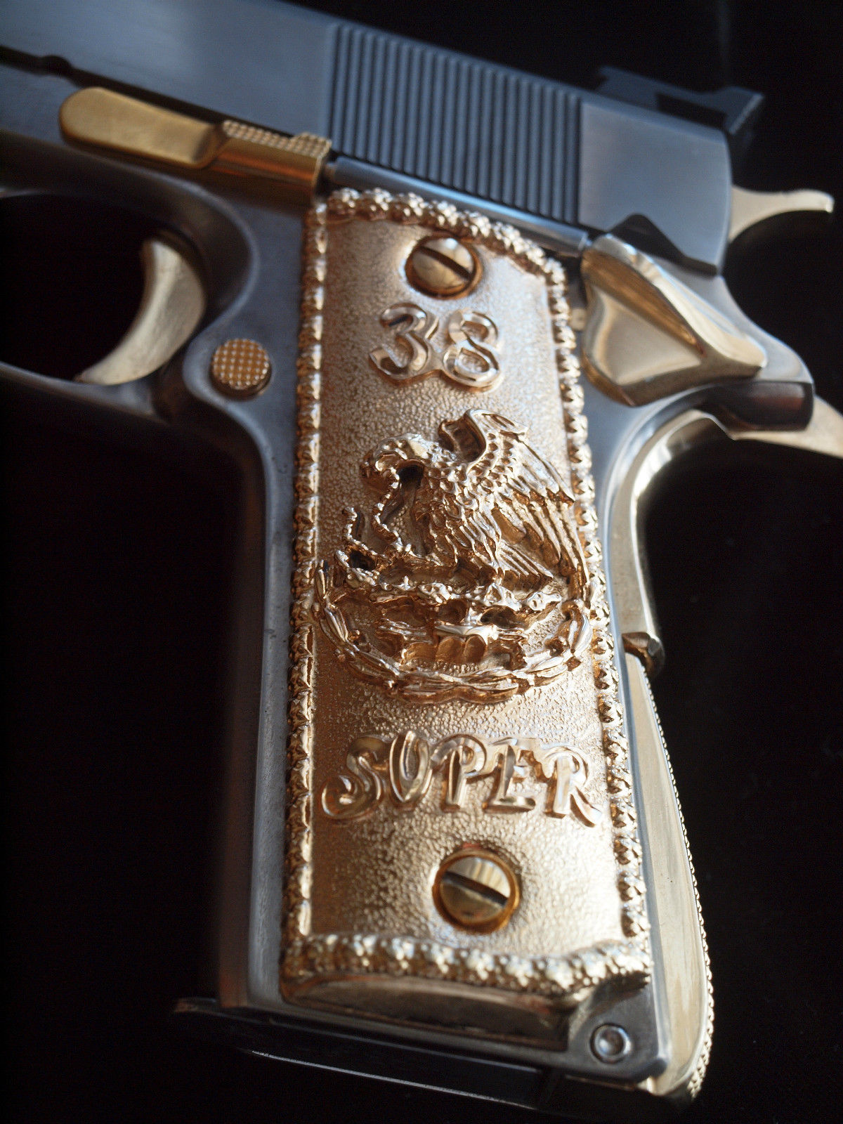 38 Super Old Mexican Eagle Gold Plated Pistol Grips Rg