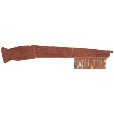 60 Inch Brown Suede Leather Fringed Western Lever Action Black Powder Rifle Scabbard
