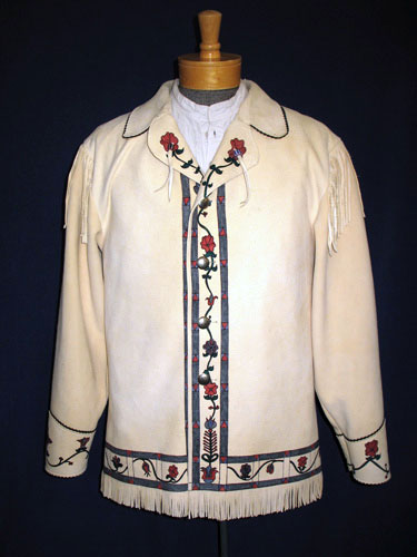 Deerskin Leather Medium Length Fancy Metis Buckskin Coat