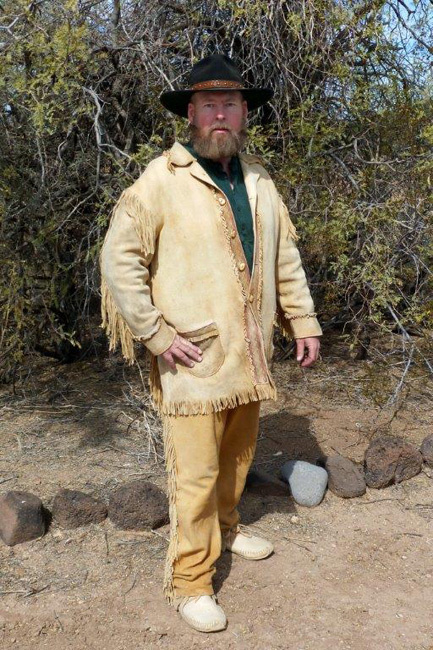 Handmade Deer Hide Fancy Scout Coat with Palomino Buckskin Pants