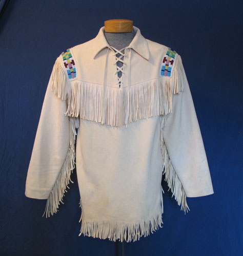 Tonto Beaded Buckskin Pullover Scout Shirt With Fringe