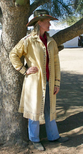 Deerskin Long Coat Painted Metis Buckskin Design